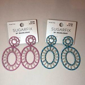 NWT 2 SUGARFIX by BaubleBar Raffia Hoop Earrings